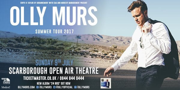 OLLY MURS TO PLAY SCARBOROUGH OPEN AIR THEATRE IN 2017