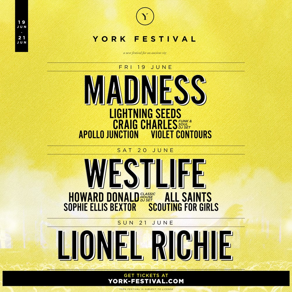LIONEL RICHIE, WESTLIFE AND MADNESS TO HEADLINE FIRST EVER YORK FESTIVAL