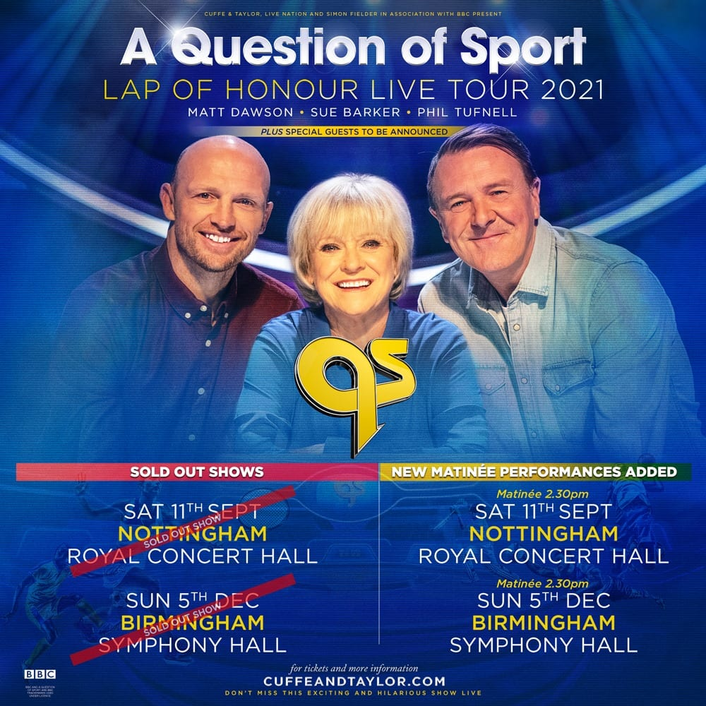 A Question of Sport Live 2021 – New Dates Added Due To Phenomenal Demand