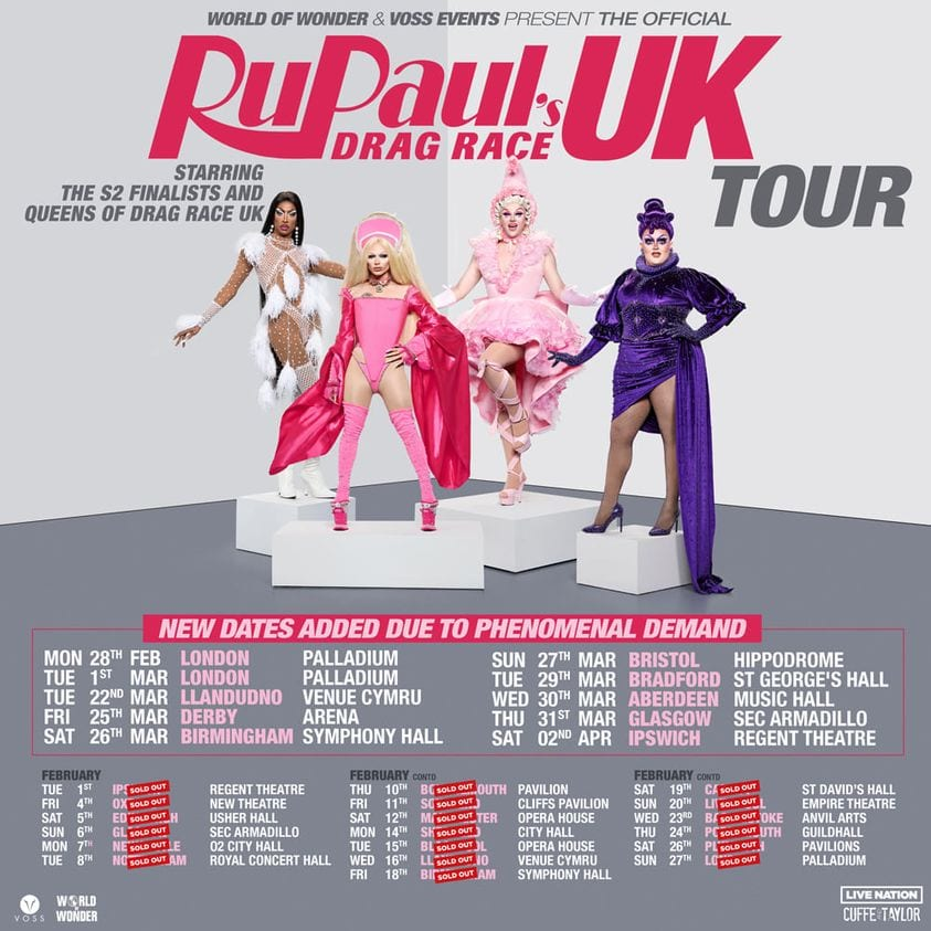 RUPAUL'S DRAG RACE UK: THE OFFICIAL SERIES TWO TOUR GETS EVEN BIGGER