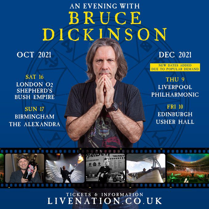 Two Dates Added To Bruce Dickinson's Spoken Word Tour